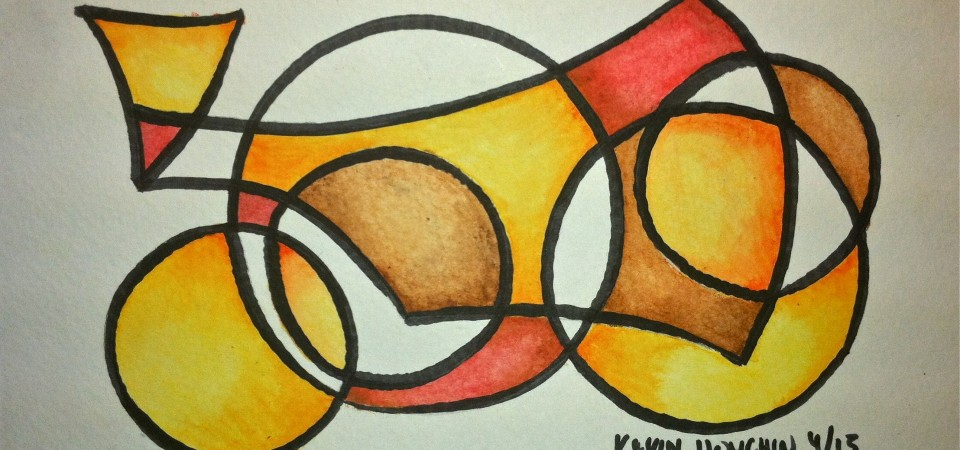 Geometry – 9x6in Watercolor with Brush Marker – Kevin Houchin