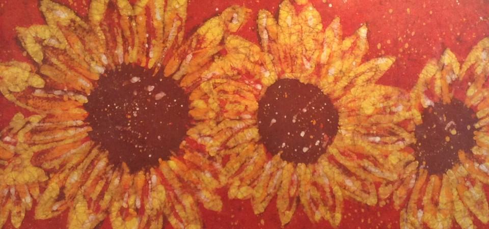 Crimson Sunflowers – Kevin Houchin Fine Art Batik