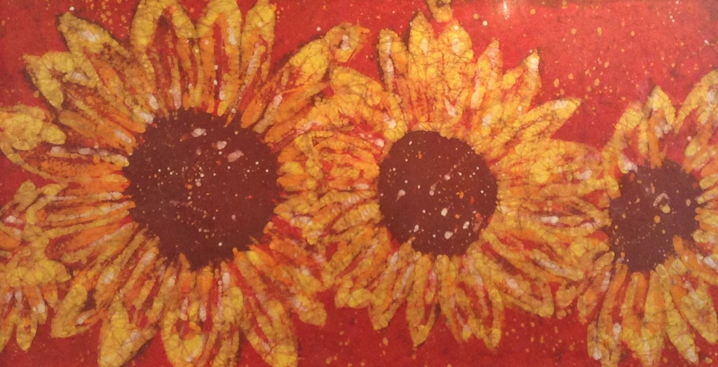 Crimson Sunflowers - Kevin Houchin Fine Art Batik