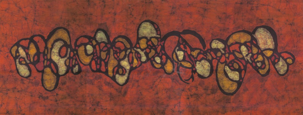 Organic Crimson - 16x36in Fine Art Batik