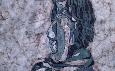 Fine Art Batik – Hanna Blue Knees – 18×24
