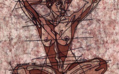 Melancholic Seated – 20x20in Fine Art Batik